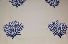 "COVINGTON CORAL NAVY BLUE OFF WHITE TROPICAL EMBROIDERED FABRIC BY THE YARD 57""W"