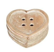 4 X COASTER SET WOODEN HEART SHABBY CHIC KITSCH CARVED WOOD HEARTS SASS & BELLE