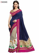 EWOWS Designer Party Wear Indian Bollywood Multi Color Art_Silk Bhagalpuri Saree
