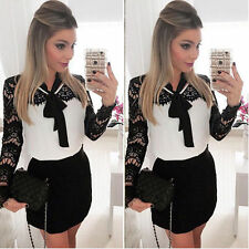 Sexy Women Lace Long Sleeve Bodycon Party Evening Short Mini Dress Pencil Dress