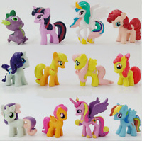 Set of 12 My Little Pony Action Figures Spike Celestia Rainbow Dash Pony Lot
