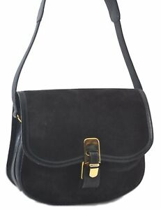 Authentic GUCCI Shoulder Cross Body Bag Suede Leather Navy Blue C3030