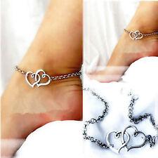 Mode Fußkette Damen Sterling Silber Doppelherz Sandle Kette Fuß Schmuck