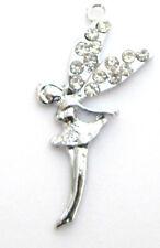 10 Fairy Silver Plated Crystal Rhinestone Charm/Pendant/Jewel/Bead/Princess K144
