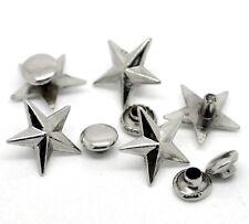 5x silberfarbene Nieten Ziernieten Schmucknieten Spikes Sterne 13 x 14 mm