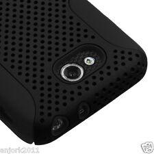 LG Optimus L90 Hybrid Mesh Case Skin Cover Black Black T-Mobile Metro D405 415