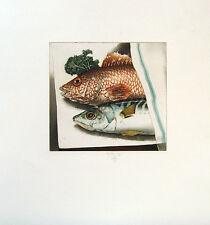 Stillleben mit Fischen Kunstwerk v. Claus Lüttig Radierung sign. (lüt0011)