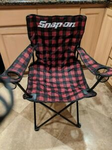 NIB Snap-on Tools foldable chair 2 cup holders use wherever you desire plaid !!!
