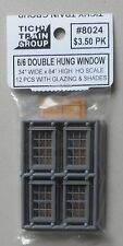 """6/6 DOUBLE HUNG WINDOWS 34""""W 64""""H HO 1:87 SCALE LAYOUT DIORAMA TICHY TRAINS 8024"""