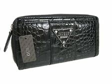 Guess Black Alligator Textured Zip Around Womens Wallet Bay View SLG Silver Logo