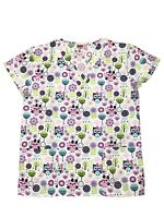 Womens Fashion Medical Nursing Scrub Tops Printed Girl Owls M