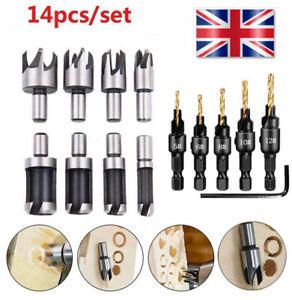 14pcs/Set Pack Countersink Drill Bit Wood Plug Cutter Woodworking Screw Hole UK