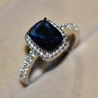 Exquisite Blue Sapphire Zircon Princess Wedding Ring White Gold Jewelry Size5-11