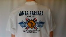 Santa Barbara Locals  white   XL   XXL  Surf T-Shirt   ( 4 color print )