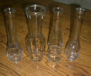 """4 Clear Glass Embossed Bud Vases/Approx. 9"""" Tall"""