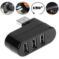 Mini 3 Port USB 2.0 Rotating Splitter Adapter Hub For PC Laptop Notebook Macbest