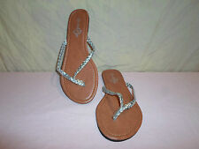 Women Sole Mates Sandle Shoes *Size M 7/8* Open Toe Sliver/Brown Flip Flops Tong
