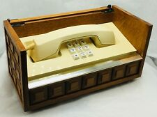 Vtg 1970's Western Electric Stowaway PNI Mediterranean Oak Wood Chest Telephone