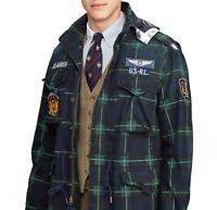 Polo Ralph Lauren Blackwatch Tartan Military Army M65 Patch Officer Field Jacket