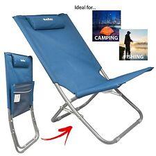 Summit Relaxer Folding Maderia Sun Lounger Lightweight Camping Beach Chair Blue