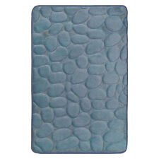 "Smoke Blue Memory Foam Bathroom Mat : 17"" x 24"", Rocks Design"
