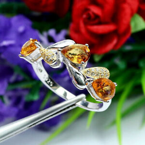 NATURAL 5 X 7 mm. GOLDEN YELLOW CITRINE & WHITE CZ RING 925 STERLING SILVER SZ 9