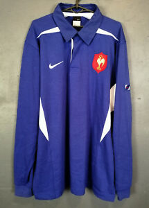 VINTAGE MEN'S NIKE LONG SLEEVE RUGBY UNION FRANCE 2004 SHIRT JERSEY BLUE SIZE XL