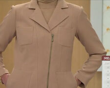 Linea by Louis Dell'Olio Asymmetric Zip Front Seamed Jacket 2X Camel NWT A236145