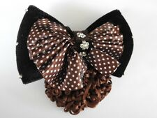brown velvet bow crystal hair net barrette cover bun clip air host dance office