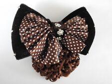 brown velvet bow crystal hair net barrette cover bun clip air dance office work