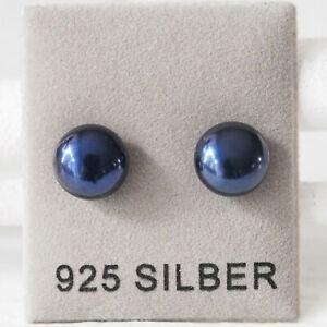 NEU 925 Silber OHRSTECKER 8mm SÜßWASSERPERLEN blau OHRRINGE ZUCHTPERLEN