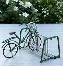 Miniature Dollhouse FAIRY GARDEN ~ Small Rustic Green Metal Bicycle & Bike Rack