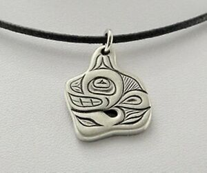 """TSIMSHIAN ORCA NECKLACE designed by ALEX HELIN - Pewter - ¾"""" Icon on cord"""