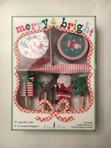Meri Meri Cupcake Kit Santa, Present, Tree, Reindeer - 24 Cucake Cases & Toppers