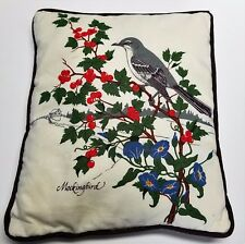 "Mockingbird Christmas Pillow 11"" Purple Morning Glory Holly Berries Holiday"