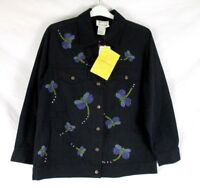 Quacker Factory Women Embellished Jacket Beaded Sz S Dragonfly Black EE439 NWT