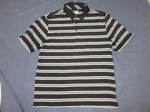 Mens Polo Style Shirt by UNDER ARMOUR - Sz XL - Black & Gray STRIPED - Loose Fit