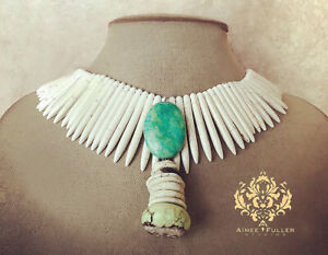 African Opal & Turquoise Blue Pendant White Howlite Spike Statement Necklace