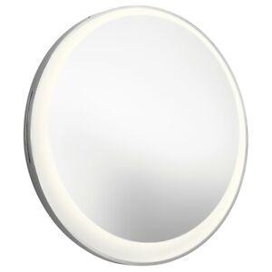 Elan Offset Round Lighted Mirror, Matte Chrome - 84077