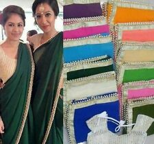 Indiano Bollywood Pakistano Designer Pearl Camicetta Sari Saree Ricamo Nuovo