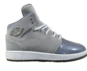 Air Jordan 5Y Basketball Shoe 628620-003 Gray and Gray patent Leather toe area