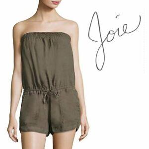 Joie Womens Strapless Romper Linen Green XS
