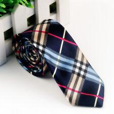 Striped Brown Red BlueWoven Necktie Men's SLIM SKINNY Tie Thin Tie