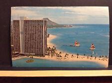 Hilton Hawaiian Village Kalia Rd Honolulu Hawaii Beach Vtg Postcard Posted 1976