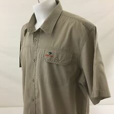 Mossy Oak Button Front Casual Shirt 2XL Beige Checked Cotton Polyester Blend
