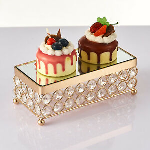 Metal Crystal Cake Stand Gold Tone Shiny Cake Stand Holder Dessert Display Stand