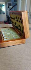 Vintage Reiseschach magnetisch Holzbox klappbar ca. 20x20 cm