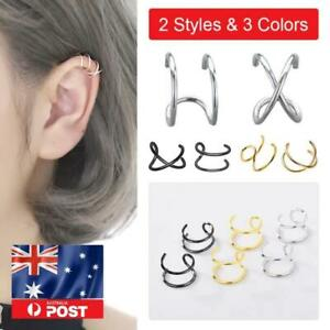 Real 925 Sterling Silver Cross Double Layers Earring Cartilage Ear Cuff