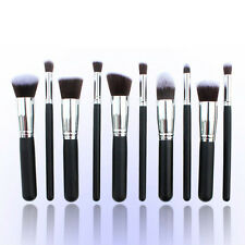 New 10pcs Kabuki Style Make Up Brush Set Professional Foundation Blusher Powder