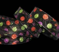 5 Yds Halloween Orange Purple Green Glitter Polka Dot Black Sheer Wired Ribbon 1